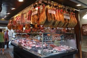 Barcelona- La Boqueria Hams Hanging