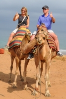 Morocco- Tangier Us on Camels Thumbs Up
