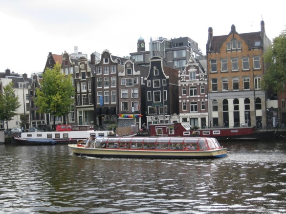 Netherlands- Amsterdam- Canal Boat and Roofs 2