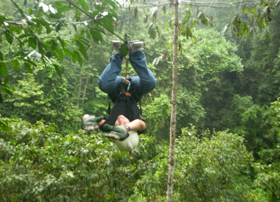 Costa Rica- Canopy Tour- Ziplining Upside Down 1