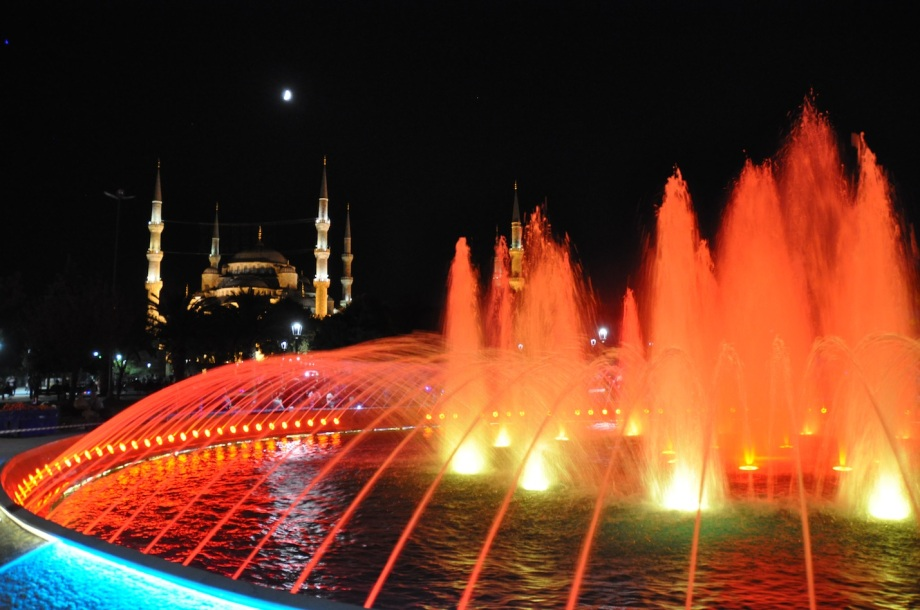 Turkey- Istanbul- Night Picture- Fountain and Blue Mosque 1