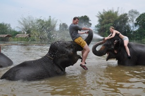 Thailand- Kanchanaburi- Swimming with Elephants 1