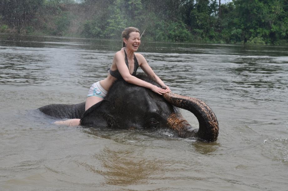 Thailand- Kanchanaburi- Elephant Swim Me 1